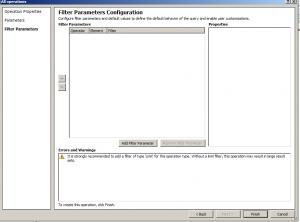 """Filter Parameter Configuration"" screen"
