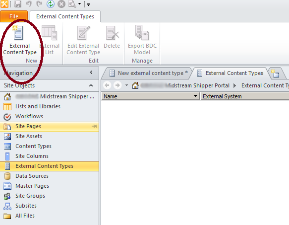 "Click on the ""External Content Type"" menu item"