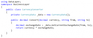Our CurrencyConverter class would be coded as