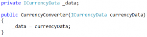 Our new CurrencyConverter would have the following private variable and constructor