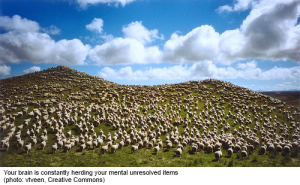 Your brain is constantly herding your mental unresolved items